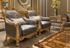 Gold Silk Embroidered Long Couch Chair Comfy Sofa Sale
