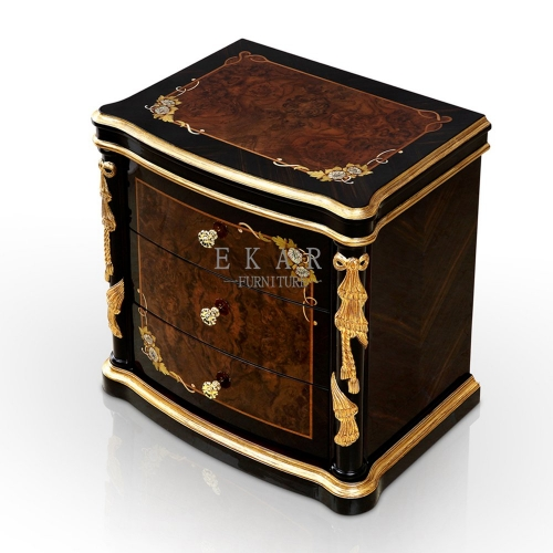 Flower Bordered High Gloss Black and Golden Nightstand/Bedside Table