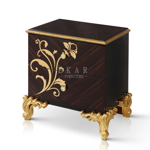 BLOOM High Gloss Blank and Golden Nightstand/Bedside Table/Bedroom Furniture