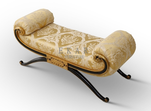 Fabric Wholesale Indian Master Home Furniture Wooden Hand-carved Gold Rocking Ottoman