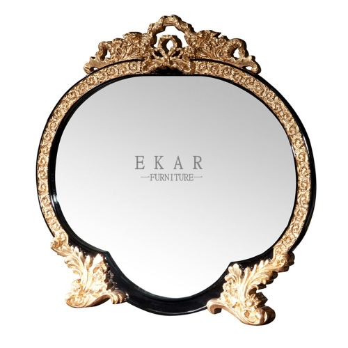 Mirror Small Round Black Wooden Framed Vanity Mirror/Wall Mirror/Console Mirror/Ormate Mirror