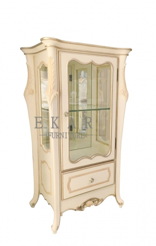 Ivory White Cabinet with Door/Curio Cabinet/Cupboard/Display Cabinet