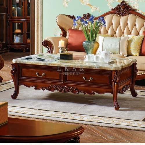 Solid Oak Storage Marble Coffee Table