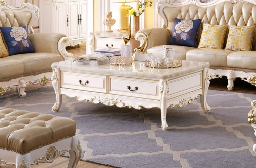French Style Living Room Marble Coffee Table