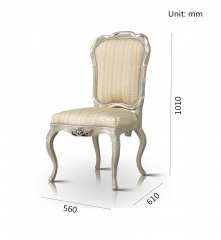 High Back Cream Colored White And Wood Dining Chair