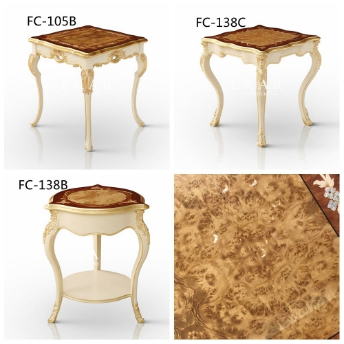Ivory White High Gloss Veneer Hand Carved End Table