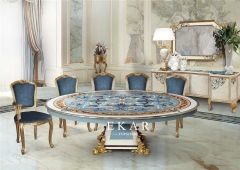 Classic Shell Pattern Round Dining Table