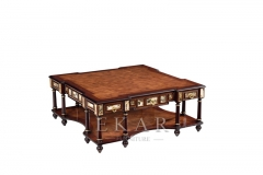 Living Room Furniture Victoria Style High Gloss Veneer Square Coffee Table